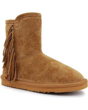 Lamo Girls' Sellas Jr. Short Fringe Side Zip Boots - Round Toe, Chestnut, hi-res