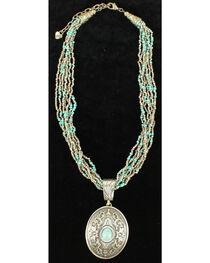 Blazin Roxx Turquoise Bead Oval Pendant Necklace, , hi-res