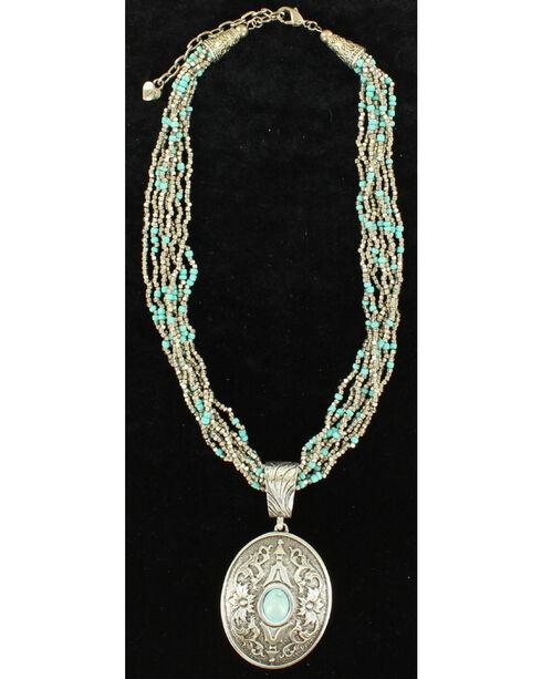 Blazin Roxx Turquoise Bead Oval Pendant Necklace, Silver, hi-res