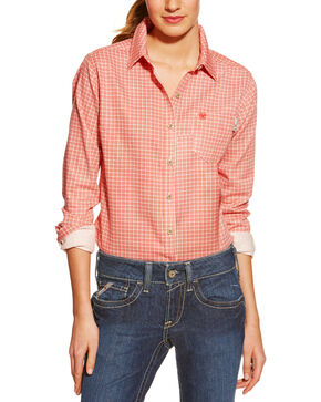 Ariat Women's Flame Resistant Checkered Work Shirt, Red, hi-res