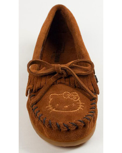 Minnetonka Women's Hello Kitty 40th Anniversary Moccasins, Brown, hi-res