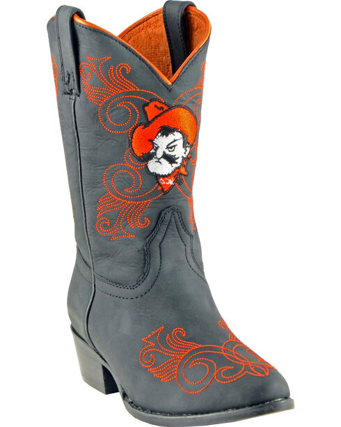 Gameday Boots Girls' Oklahoma State University Western Boots - Medium Toe, Black, hi-res