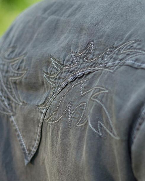 Ryan Michael Men's Night Black Embroidered Silk Linen Shirt, Black, hi-res