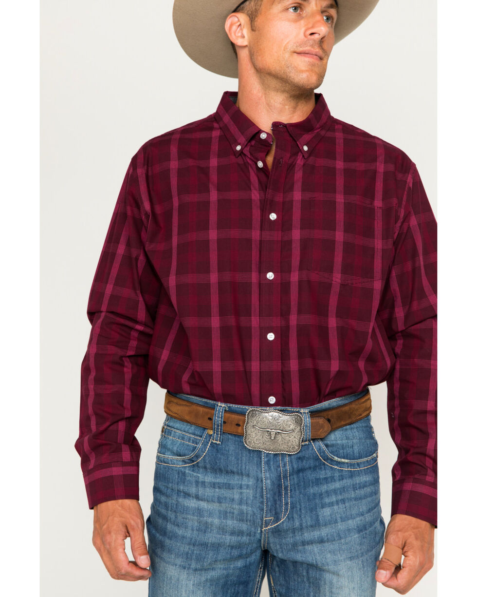 Cody James® Men's Core Plaid Long Sleeve Shirt, Burgundy, hi-res