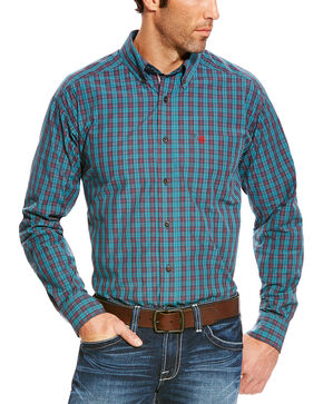 Ariat Men's Blue Avinger Long Sleeve Western Shirt - Tall , Blue, hi-res