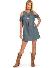 Polagram Women's Cold Shoulder Solid Denim Dress, , hi-res