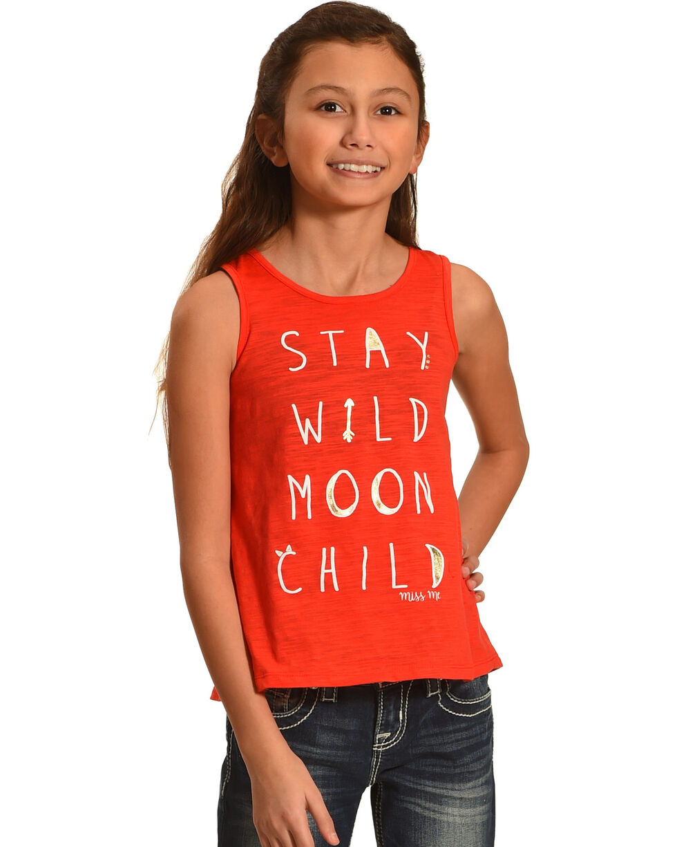 Miss Me Girls' Stay Wild Tank, Pink, hi-res