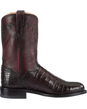 El Dorado Men's Handmade Caiman Belly Black Cherry Roper Boots - Round Toe, Black Cherry, hi-res