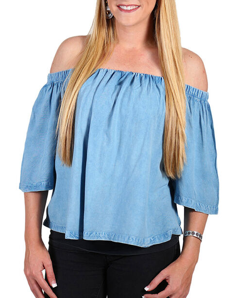 Tramp Inc. Women's Acid Wash Off The Shoulder Top, Light Blue, hi-res