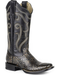 Roper Women's Black Floral Western Boots - Square Toe , , hi-res