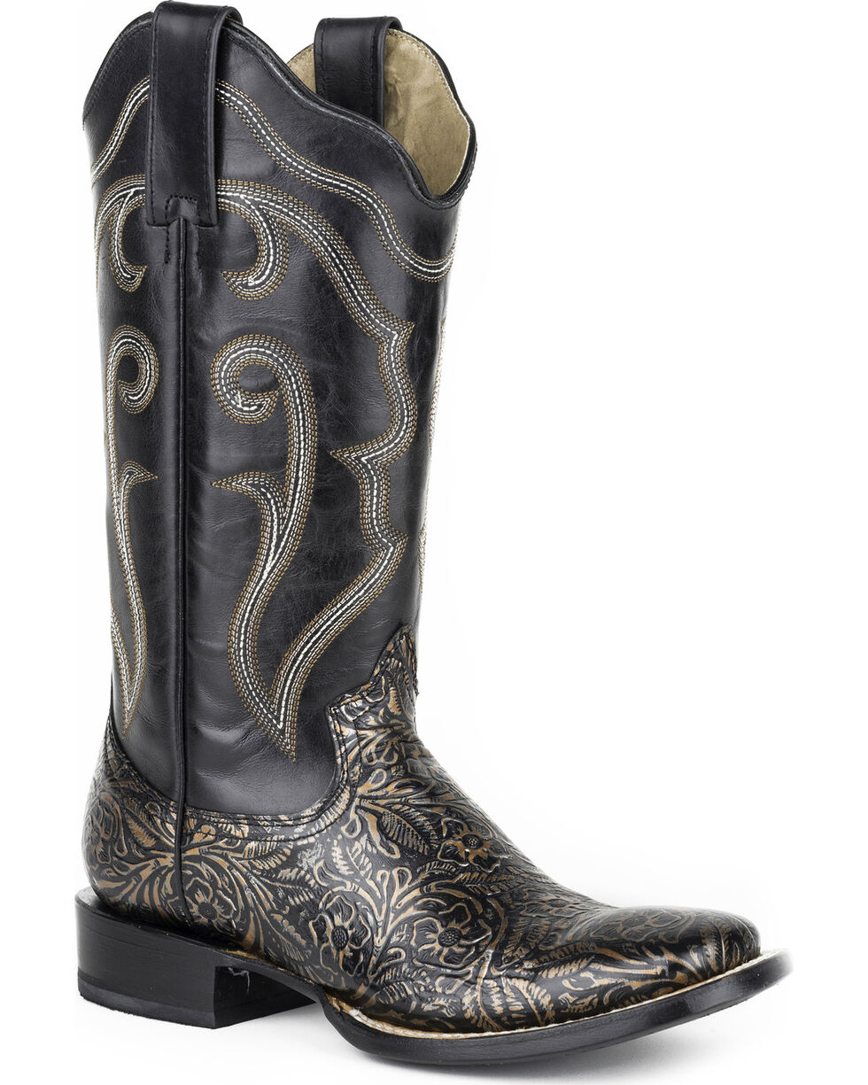 Roper Women's Black Floral Western Boots - Square Toe , Black, hi-res