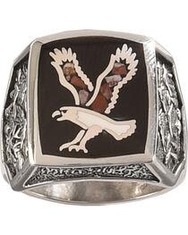 Silver Legends Men's Flying Eagle Multi Color Ring , , hi-res