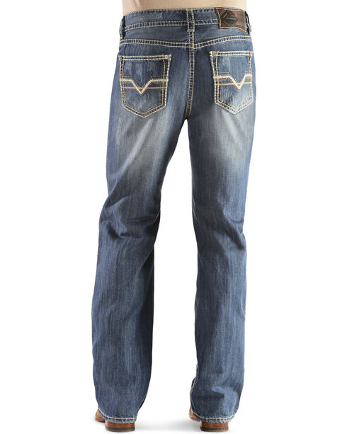 "Rock & Roll Cowboy Men's Double Barrel ""V"" Jeans - Straight Leg, Denim, hi-res"