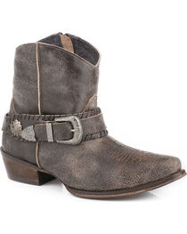 Roper Women's Brown Belt It Strap Short Boots - Pointed Toe , , hi-res
