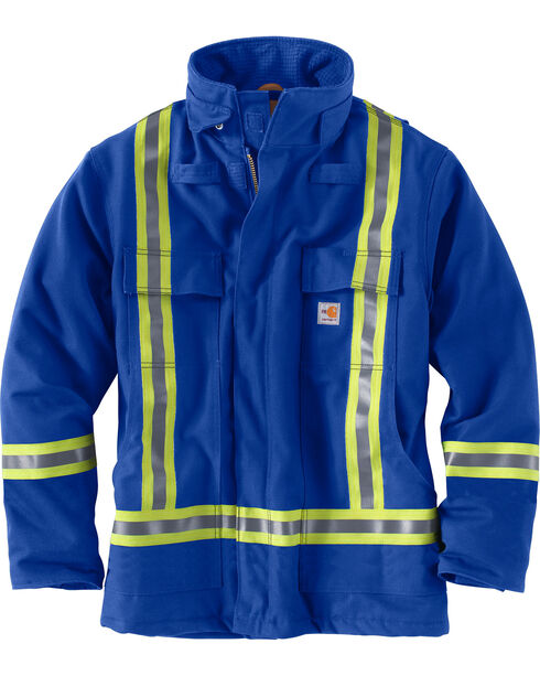 Carhartt Men's Blue Flame-Resistant Striped Duck Traditional Coat, Royal, hi-res
