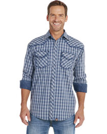 Cowboy Up Men's Blue Plaid Long Sleeve Snap Vintage Shirt, , hi-res