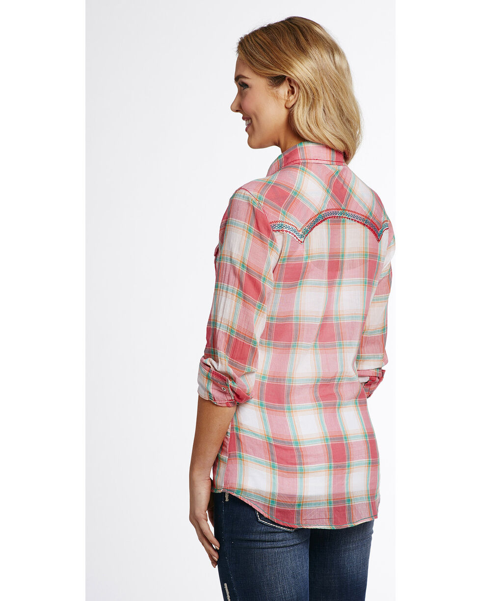 Cowgirl Up Women's Pink Two Pocket Plaid Shirt , Pink, hi-res