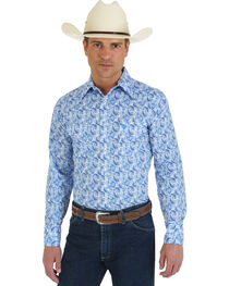 Wrangler George Strait Collection Blue Paisley Western Shirt, , hi-res