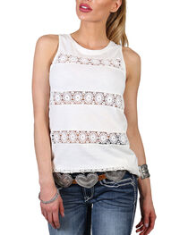 Shyanne Women's Stripe Lace Tank Top, , hi-res