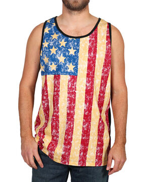 Cody  James Men's Distressed American Flag Tank, Red, hi-res
