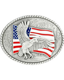 Nocona Bald Eagle & American Flag Oval Buckle, , hi-res