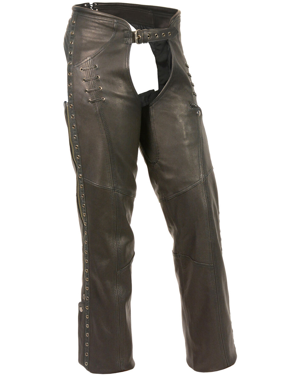 Milwaukee Leather Women's Lace & Grommet Lightweight Hip Set Chaps - 3X, Black, hi-res