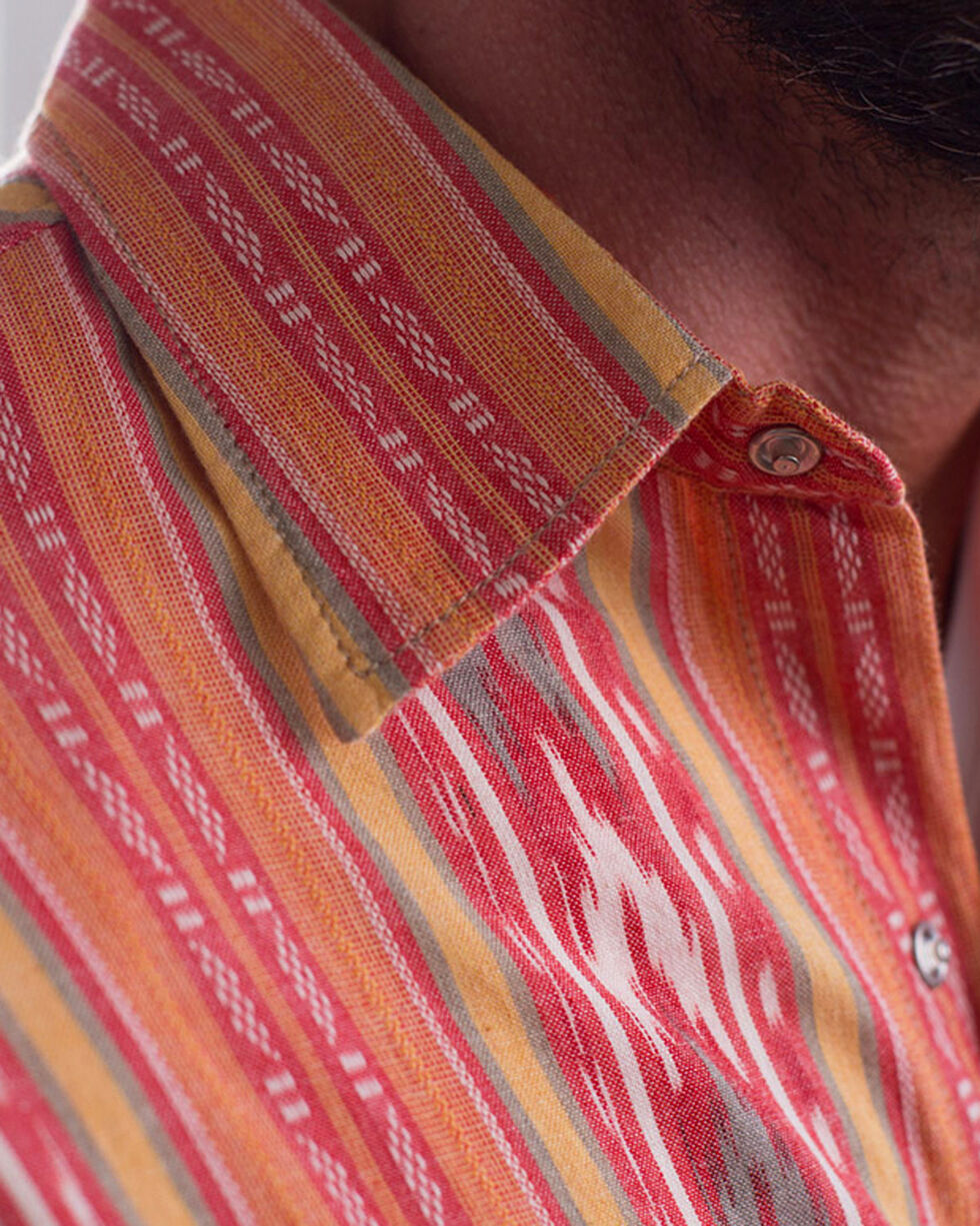 Ryan Michael Men's Tomato Ikat Stripe Shirt , Red, hi-res