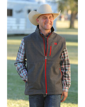 Cinch Men's Grey Printed Bonded Vest , Grey, hi-res