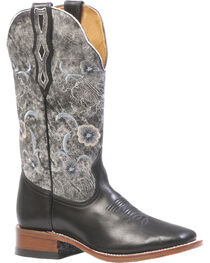 Boulet Women's Torino Black Thunder Blanco Cowgirl Boots - Square Toe, , hi-res