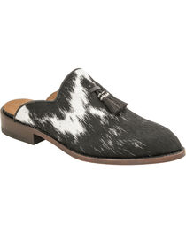 Lucchese Women's Delaney Black Hair On Calf Mules - Round Toe, Black, hi-res