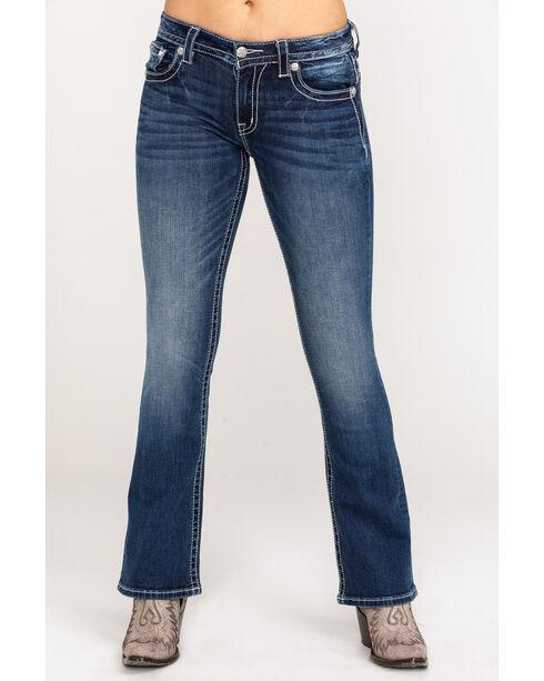 Miss Me Women's Indigo Mid Rise Cow Print Jeans - Boot Cut , Indigo, hi-res