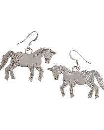 M & S Turquoise Stamped Sterling Silver Horse Earrings, , hi-res