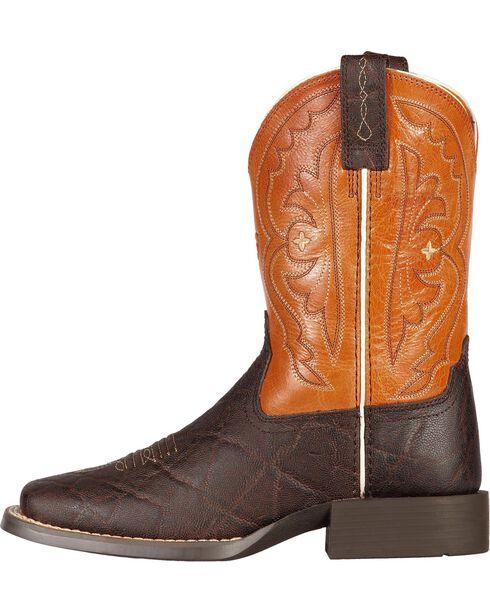 Ariat Boys' Quickdraw Chocolate Elephant Print Cowboy Boots, Chocolate, hi-res