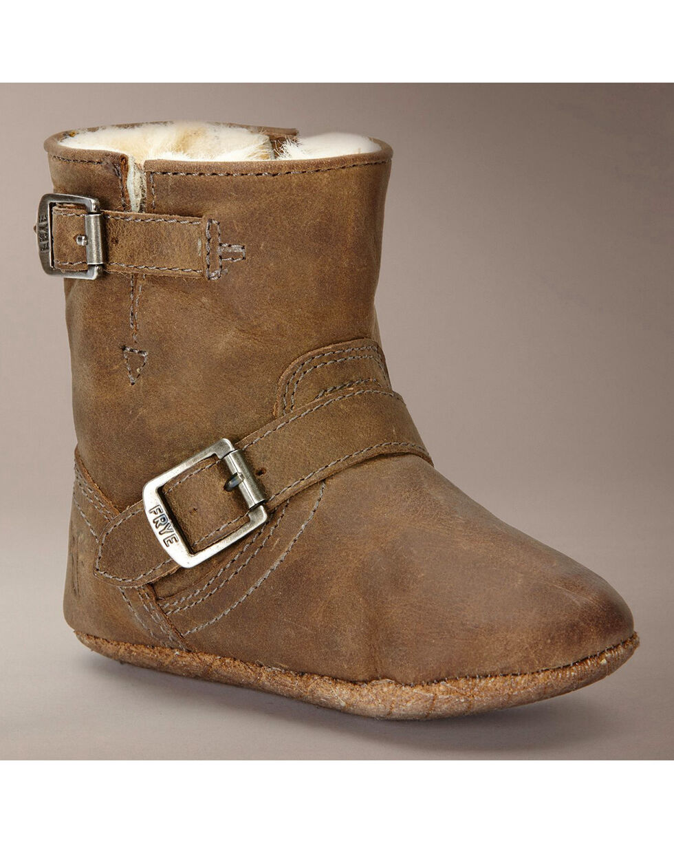 Frye Infant Girls' Crazy Horse Engineer Shearling Booties - Round Toe, Tan, hi-res