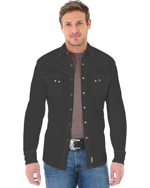 Wrangler Retro Men's Tonal Striped Long Sleeve Western Shirt, Black, hi-res
