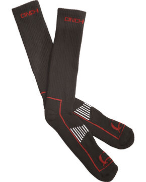 Cinch Men's Black and Red Boot Socks , Black, hi-res
