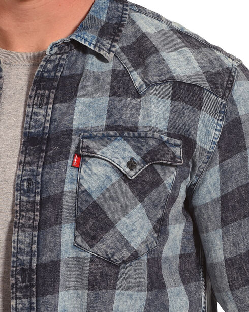 Levi's Men's Blue Bleesh Flannel Long Sleeve Shirt , Blue, hi-res
