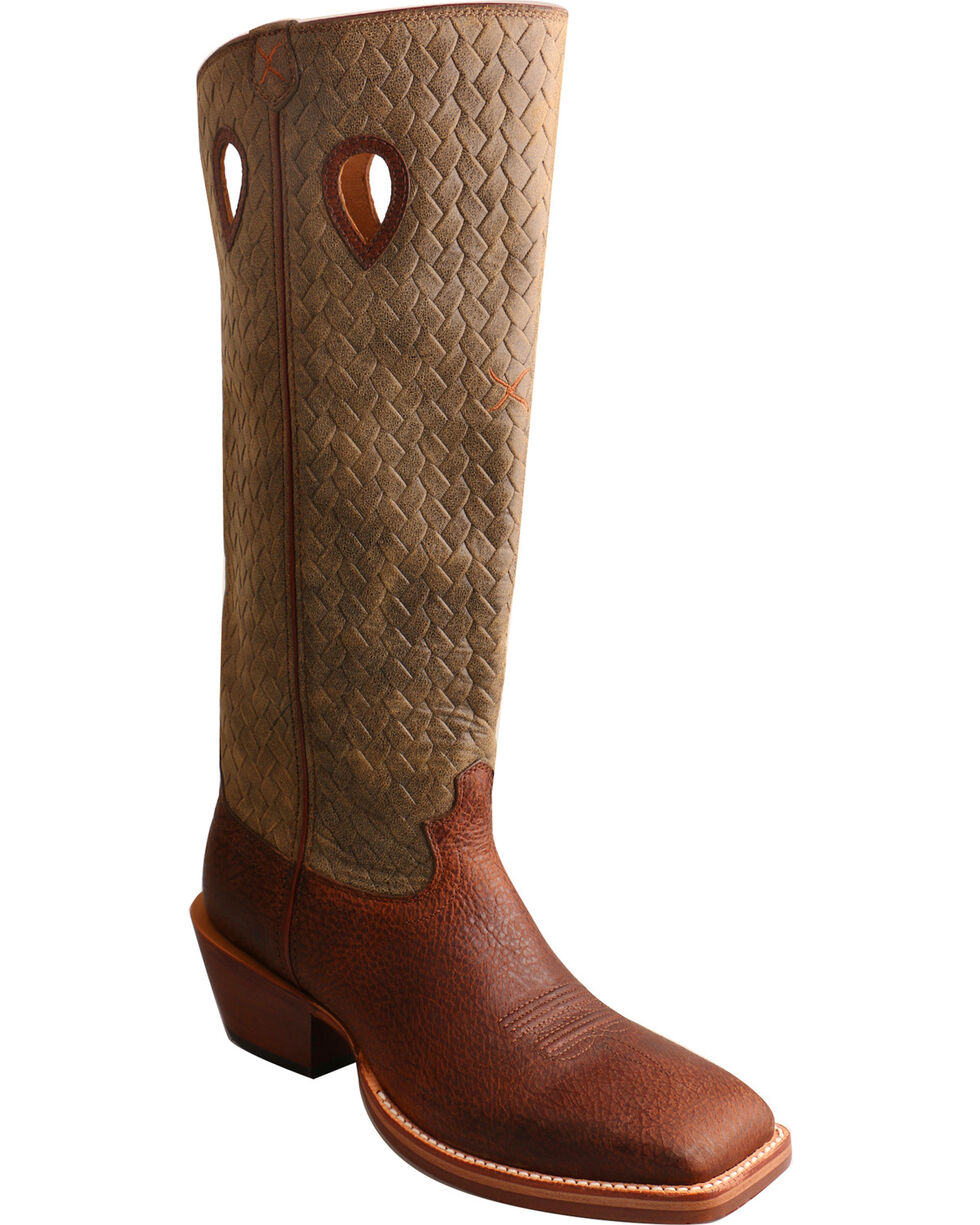 Twisted X Men's Tall Basketweave Buckaroo Cowboy Boots - Square Toe, Brown, hi-res
