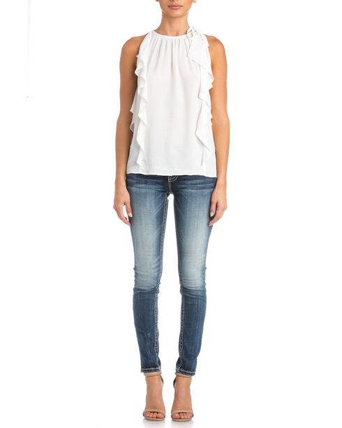 Miss Me Women's White Catch The Wave Top , White, hi-res
