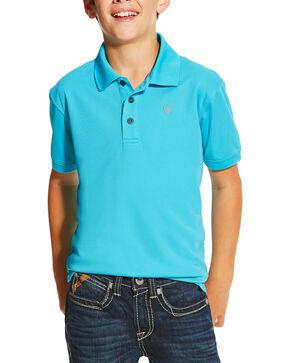 Ariat Boys' Tek Short Sleeve Polo Shirt, Turquoise, hi-res