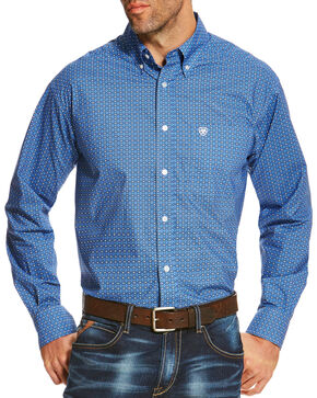 Ariat Men's Diamond Patterned Button Down Long Sleeve Shirt , Blue, hi-res