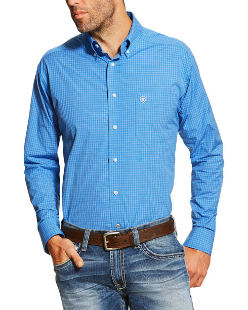 Ariat Pro Series Men's Checkered Print Long Sleeve Western Shirt, Blue, hi-res