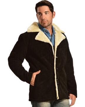 Vintage Leather Men's Sherpa-Lined Suede Coat, Black, hi-res