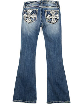 Miss Me Girls' Pearl Crossroads Boot Cut Jeans, Indigo, hi-res