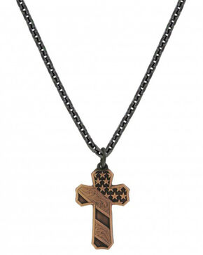Montana Silversmiths Men's Nickel Faded Glory Cross Necklace , Silver, hi-res