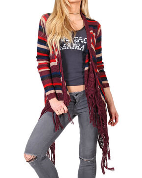 Say What? Women's Striped Tassel Fringe Cardigan, Burgundy, hi-res