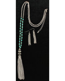 Blazin Roxx Turquoise & Tassel Necklace & Earrings Set, , hi-res