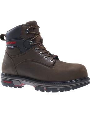Wolverine Men's Waterproof Plus Durashock Work Boots, Brown, hi-res