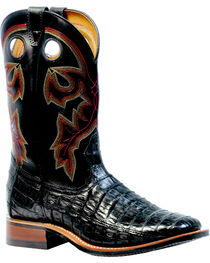 Boulet 3-Piece Black Caiman Belly Boots - Square Toe, , hi-res