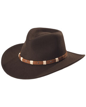 Black Creek Black Crushable Wool Felt Hat, Cordovan, hi-res
